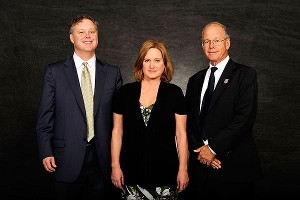 From left, Brian France, Lesa France Kennedy and Jim France pose prior to the 2010 NASCAR Hall of Fame induction ceremony.