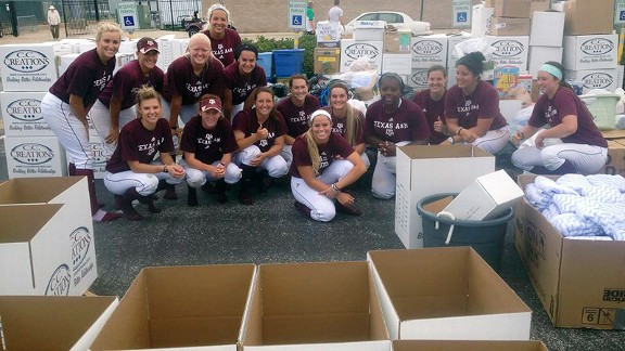 The Texas A&M softball team and staff collected a moving truck of donations for West, Texas, and Moore, Okla. The explosion in West hit close to home, as several players knew someone affected.