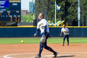 Sara Driesenga gave up the tying and go-ahead home runs late, but Michigan was saved by Ashley Lane's game-winner.