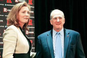 Rutgers president Robert Barchi is standing by his new AD, Julie Hermann, despite this week's scandal.