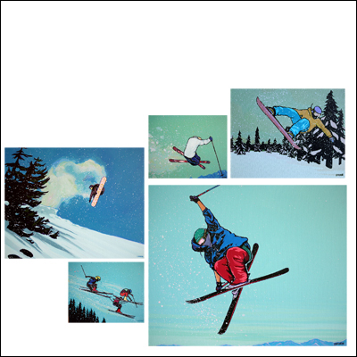 This series was inspired by my yearly trips to Lake Tahoe [Calif.]. I'm more a snowboarder than a skier, but I have respect for both, especially with the high level of radness that goes on there, says Shinn.