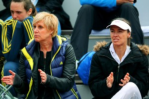 Anastasia Pavlyuchenkova's mom, Marina, and coach, Martina Hingis, at Anastasia's match against Petra Cetkovska.