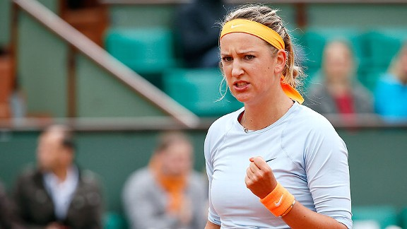 Victoria Azarenka celebrated her first-round win by hitting a ball out of Philippe Chatrier to some lucky passerby.