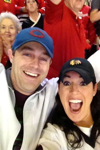 Sarah Spain and her friend enjoy the Blackhawks' overtime victory in Game 7 vs. the rival Red Wings.