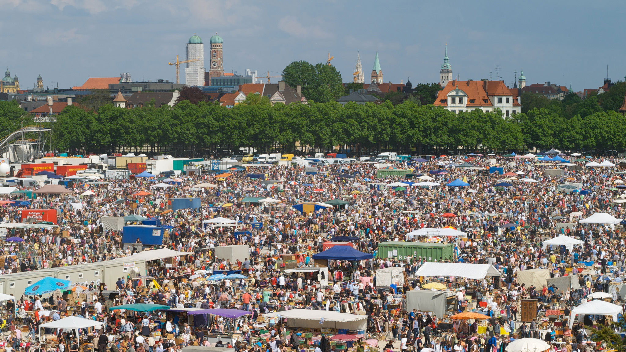 Every April, what might be the world's biggest flea market springs up close to where Oktoberfest goes down later in the year. Beer or bargains, the area always seems to draw a crowd.