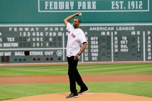 Jason Collins throws out the ceremonial first pitch at Fenway Park on Thursday.