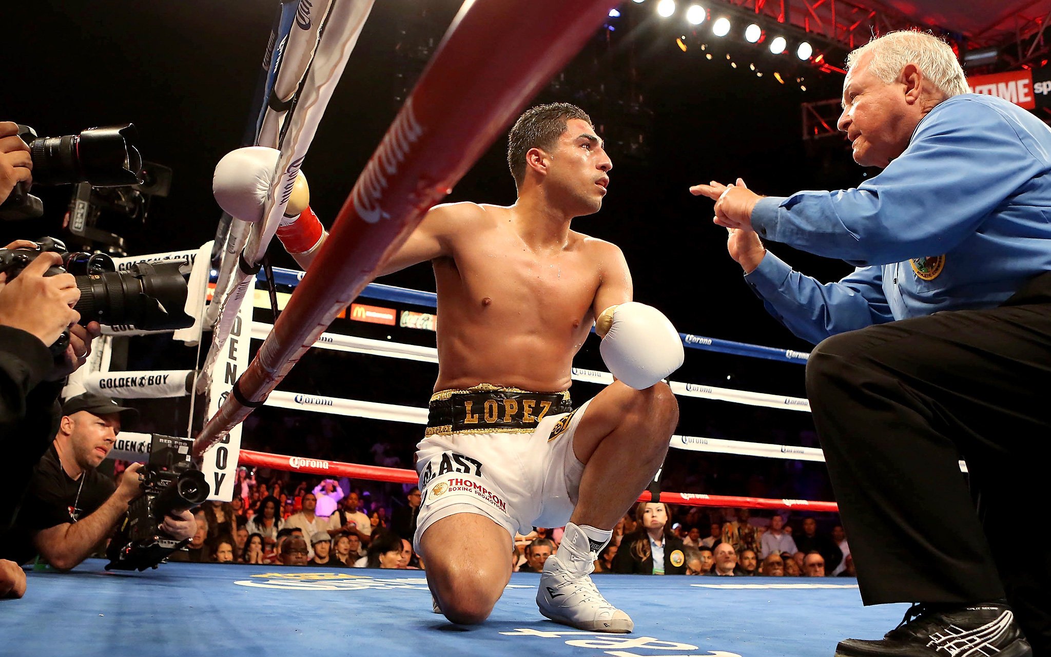 Josesito Lopez after being knocked down