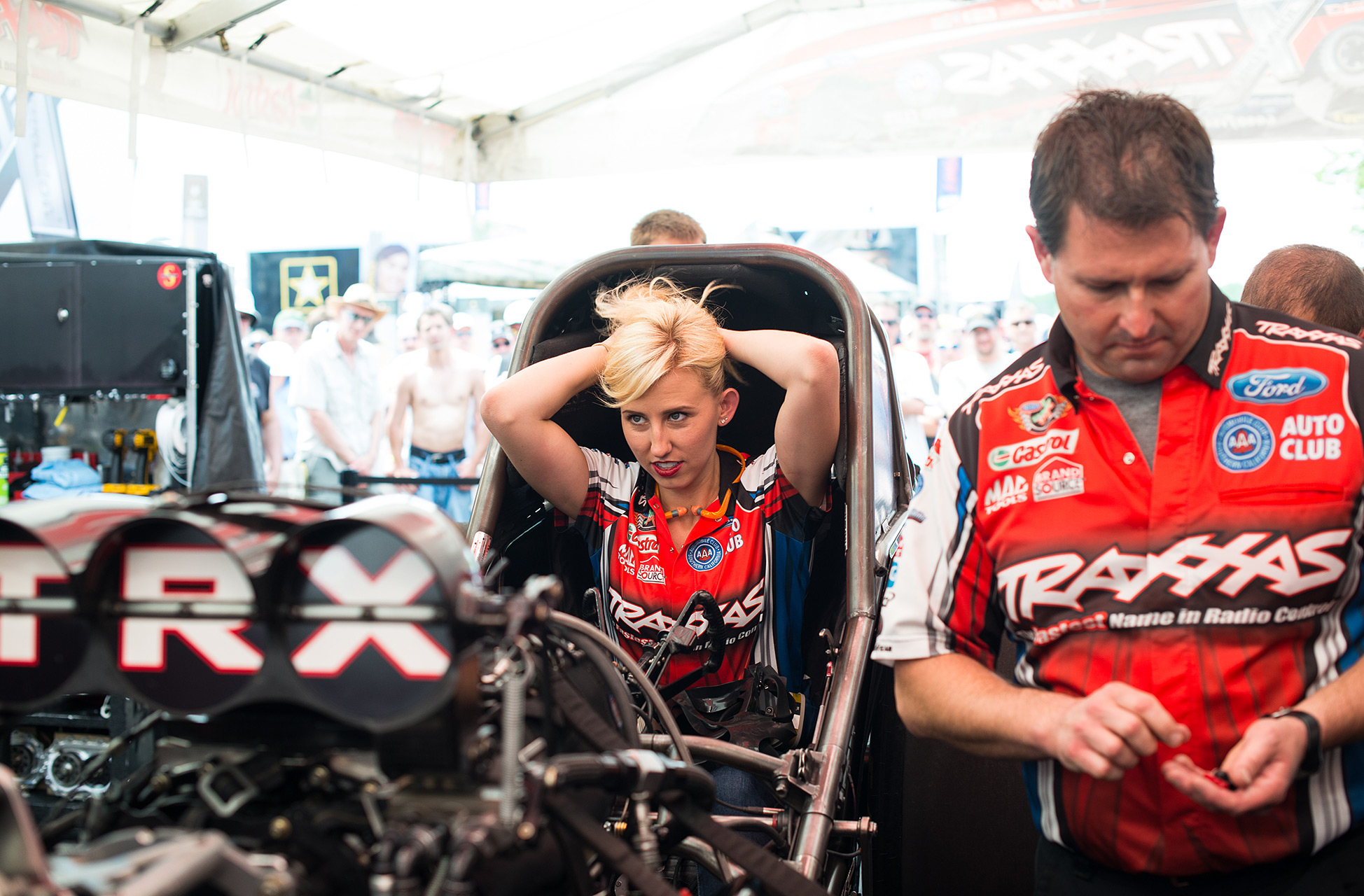 Courtney Force, who runs in the Funny Car class of NHRA, sits seventh in the standings, three spots ahead of her father.