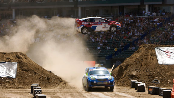 Rallycross cars need to be able absorb big shocks while still handling well on the racecourse.