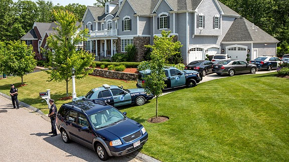 On June 22, police gathered at the home of then-New England Patriots tight end Aaron Hernandez in North Attleborough, Mass.