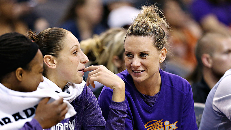 Penny Taylor, right, has worked hard to rehab her knee after an ACL injury.
