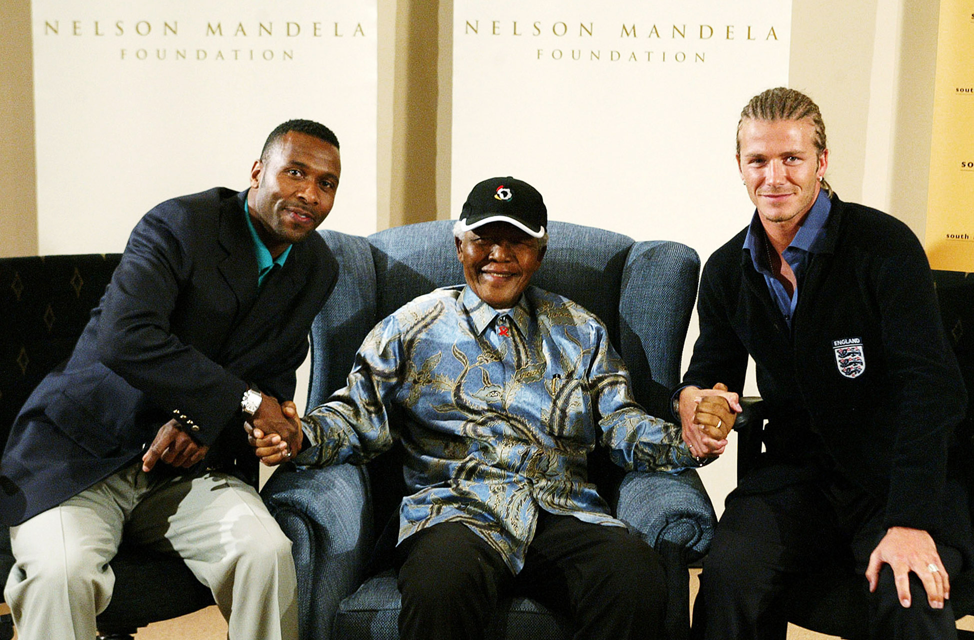 Lucas Radebe, Nelson Mandela and David Beckham