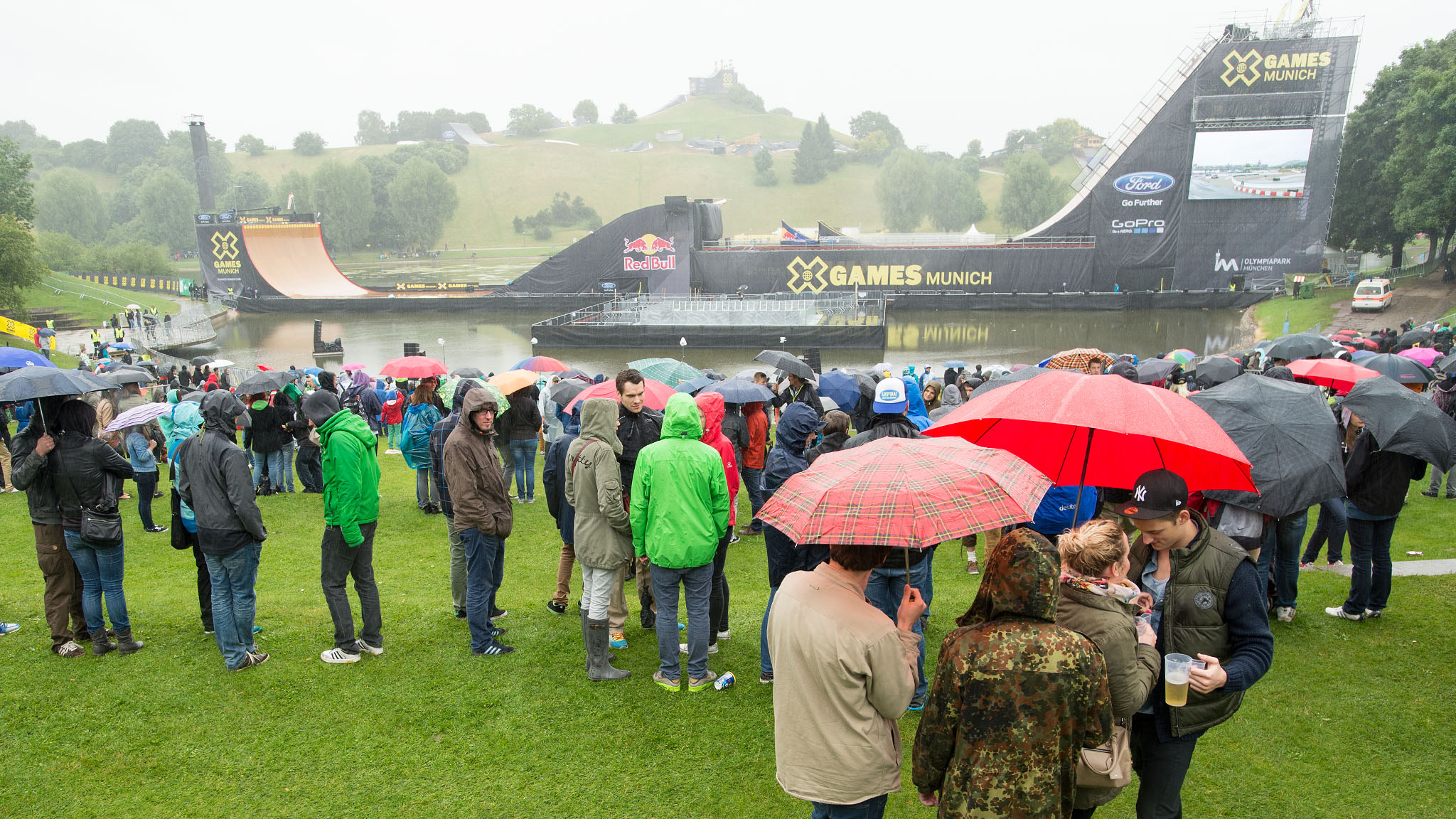 Rain washed out the Skateboard Big Air event and others at X Games Munich Saturday.