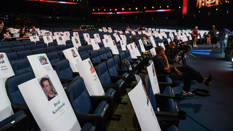 Seating placeholders during a rehearsal prior to The 2013 ESPYS.