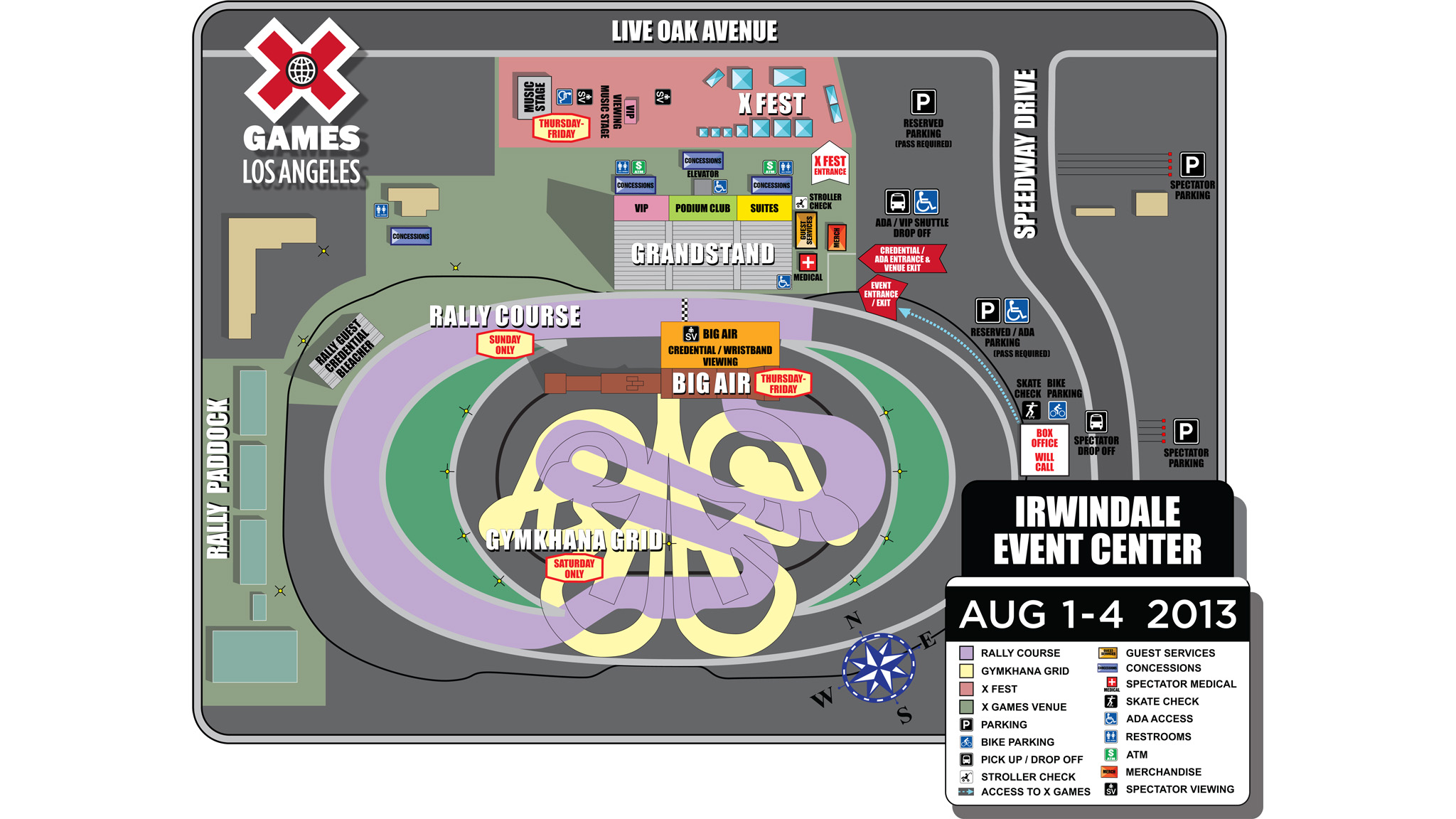 X Games Los Angeles Irwindale site map
