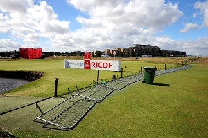 The wind blew balls around on the greens and damaged some infrastructure on the course.
