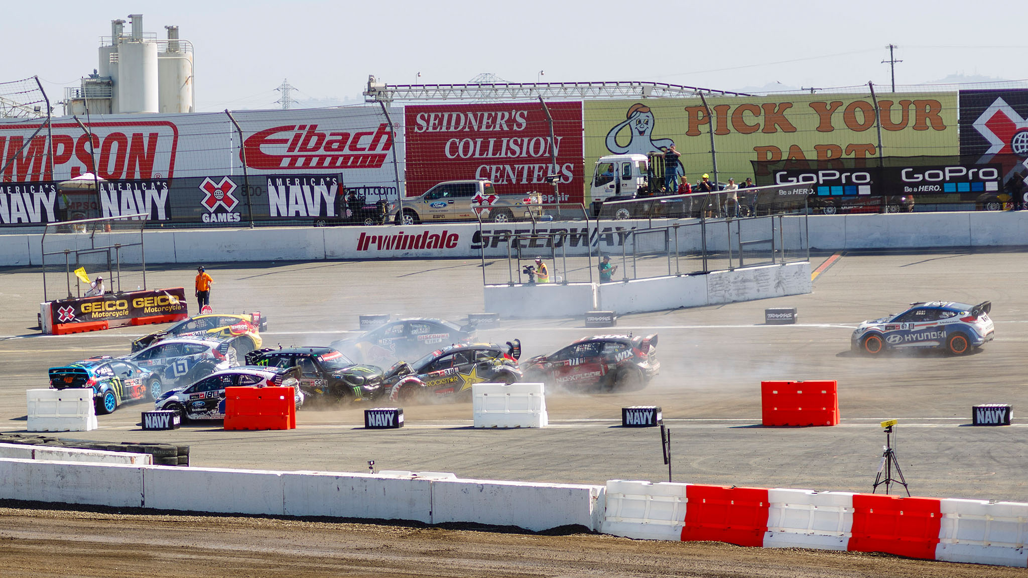pThe crash in the first hairpin turn on the first lap of the Ford RallyCross final in X Games L.A. took out three of the race favorites: Liam Doran, Ken Block and Brian Deegan. Block and Deegan went on to finish sixth and seventh, respectively. Heikkinen, left in the white car, once again avoided the early trouble and went on to win the race. Tanner Foust finished second./p