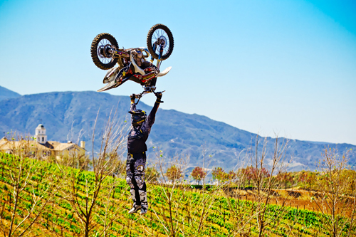 A fearless, super stretched-out backflip K.O.D. (kiss of death) shows Fitzpatrick's got the riding part down pat. Now for that wine-making thing ...