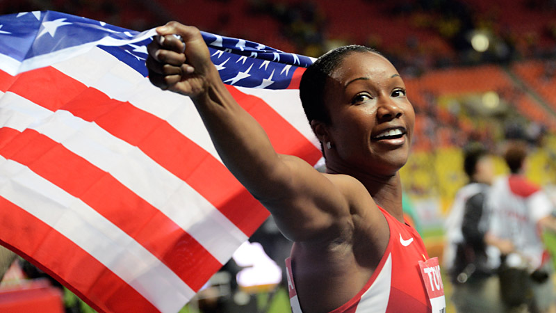 Carmelita Jeter is currently competing for Team USA at the world championships in Moscow, Russia.