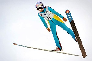 Sarah Hendrickson jumps on the 120-meter hill at U.S. National Championships in Park City. She won the event.