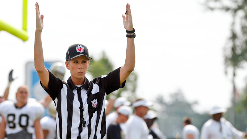 NFL official trainee Sarah Thomas has worked scrimmages this preseason and will officiate Friday night's Raiders-Saints game in New Orleans.