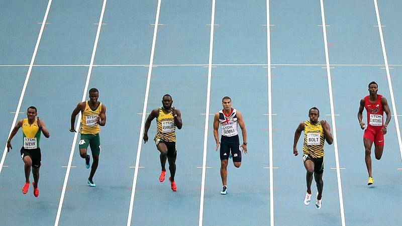 Warren Weir, Anaso Jobodwana, Nickel Ashmeade, Adam Gemili, Usain Bolt, Curtis Mitchell
