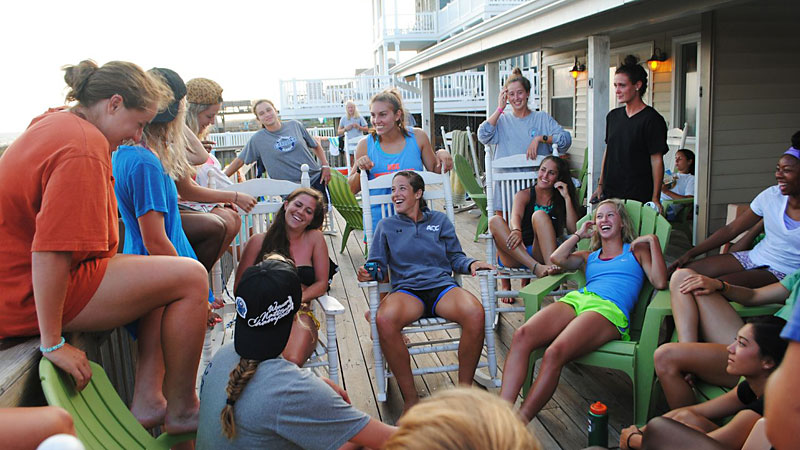 The team hangs out at the beach house in Ocean Isle Beach, N.C., the site of a preseason training retreat.