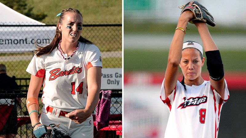 Chicago Bandits' Monica Abbott, left, and USSSA Pride's Cat Osterman have put up almost identical numbers from the mound this season.