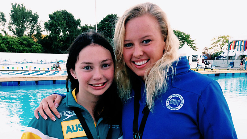 Catching up with friends like Australia's Madison Elliott was one of the highlights at worlds for Jessica Long.