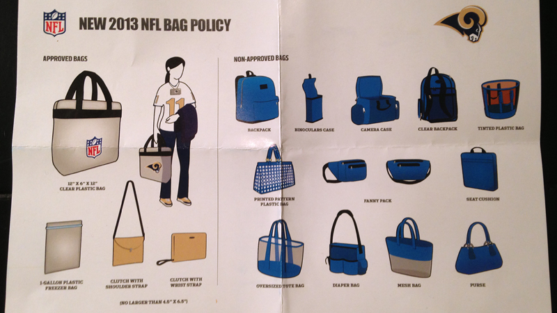 Sarah Spain received this Bag Ban pamphlet with her tickets to the Nov. 23 Bears/Rams game in St. Louis.