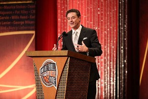 Rick Pitino speaks during the 2013 Naismith Memorial Basketball Hall of Fame induction ceremony on Sunday in Springfield, Mass.