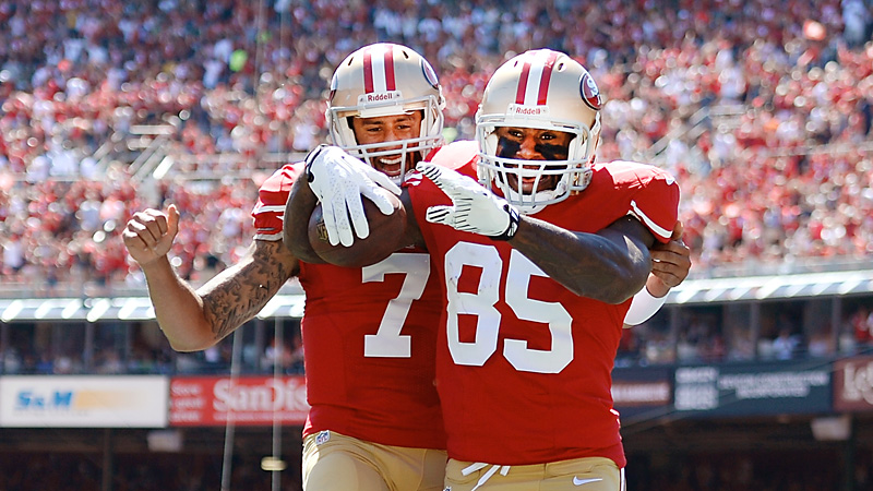 Colin Kaepernick and Vernon Davis