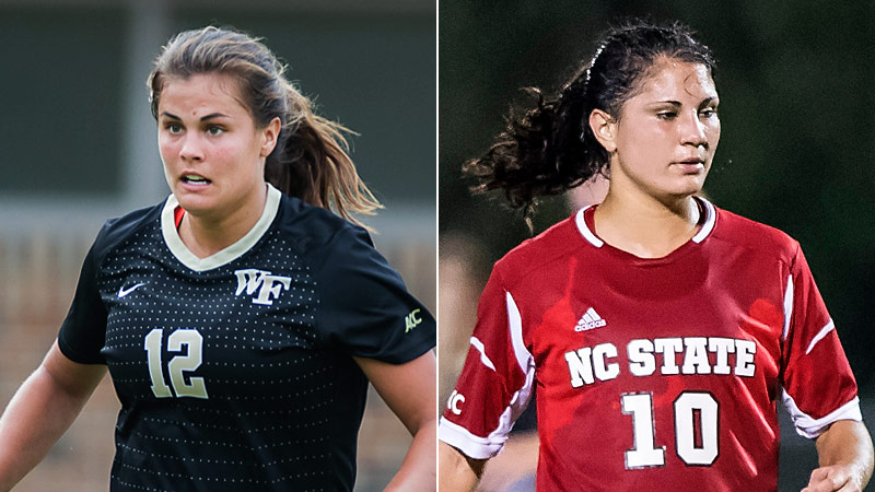 Katie Stengel, left, has been a dominant scorer during her four years at Wake Forest. This season she'll go head to head in the ACC with her sister Jackie, a freshman at NC State.