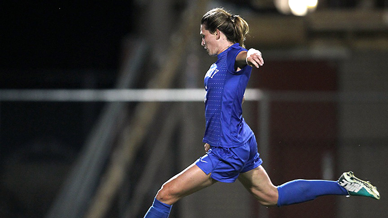 Senior Arin Gilliland scored on a penalty kick as Kentucky beat in-state rival Louisville 2-0.