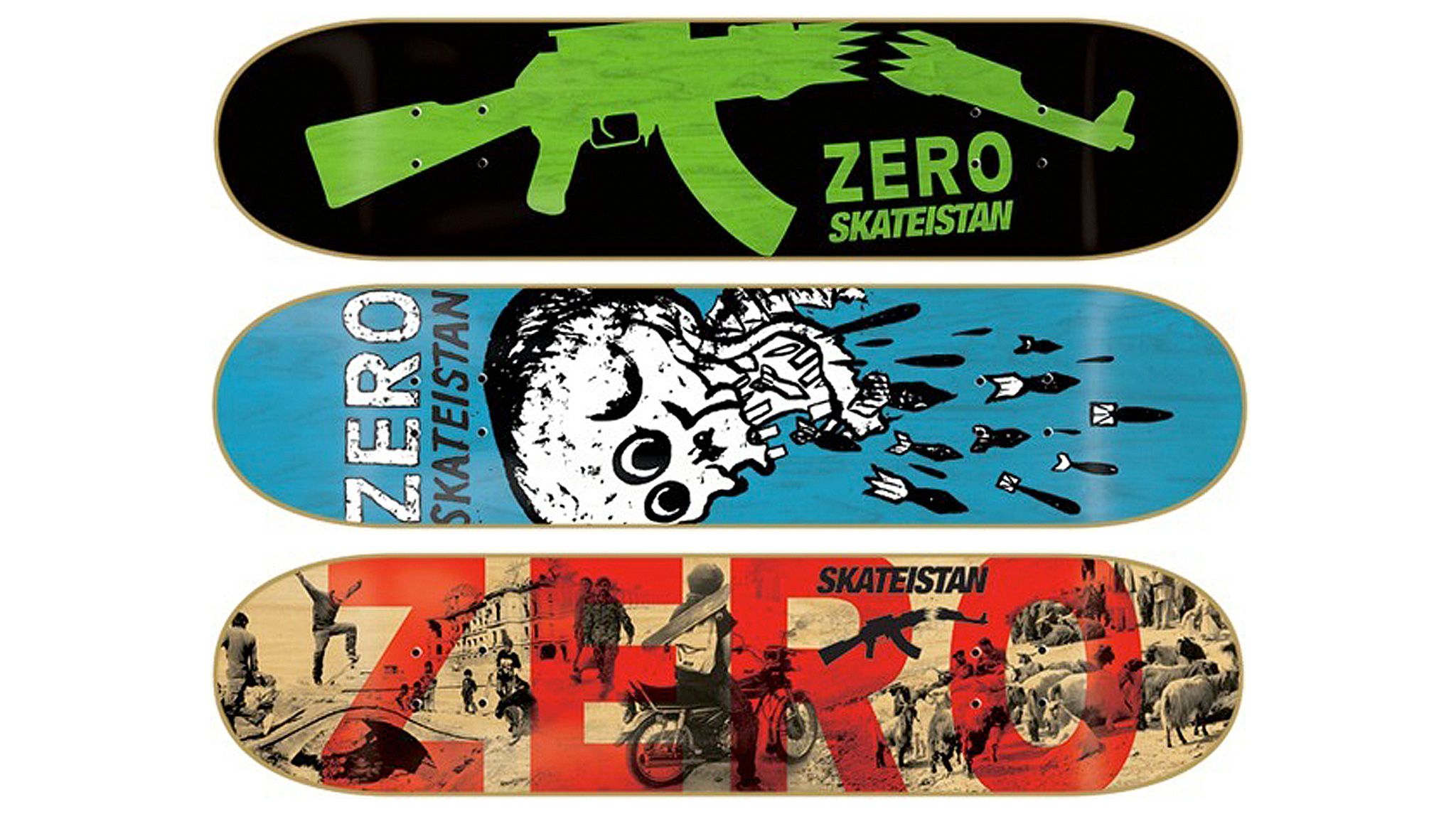 Zero Skateboards has released three decks in collaboration with an empowerment-through-skateboarding organization in Afghanistan.