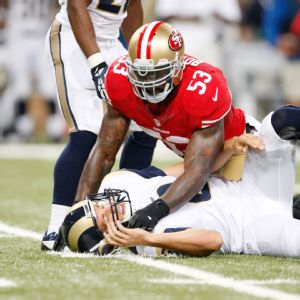NaVorro Bowman sacked Sam Bradford twice and forced him to fumble once in Week 4.