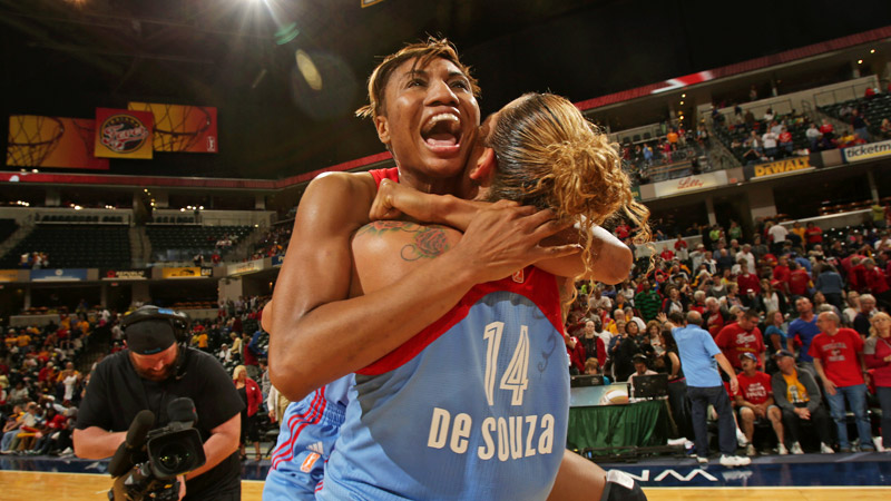 Angel McCoughtry, celebrating with teammate Erika de Souza after winning the East, is making her third WNBA Finals appearance.