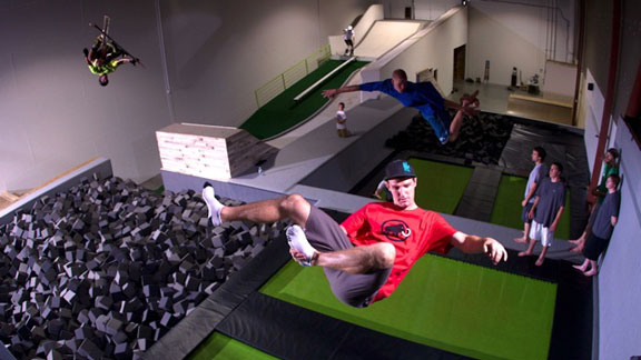 Skiers training inside at Snogression, Kevin Brower's facility in Salt Lake City, Utah.