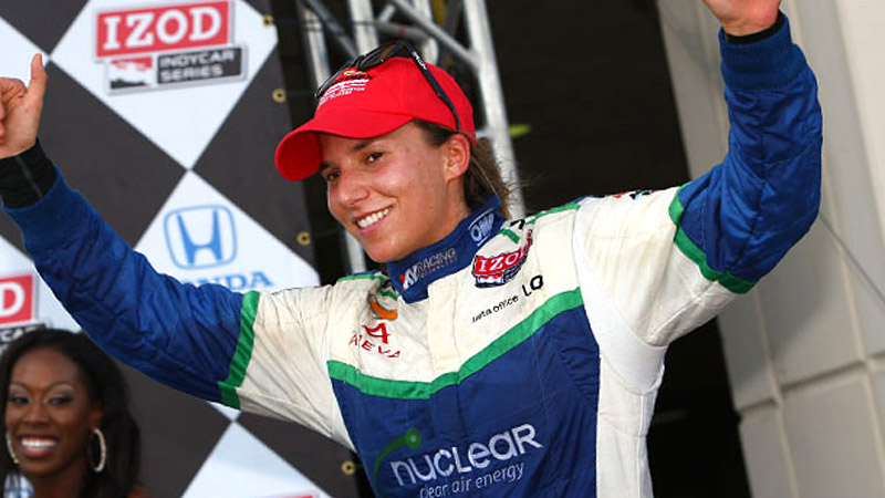 Simona de Silvestro got to celebrate her second-place finish Saturday with some sponsors, but not too much because she had to race again on Sunday.