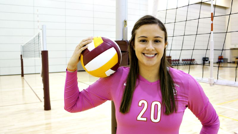 Emily Young and the USC volleyball team have been wearing pink jerseys in warm-ups during the month of October.