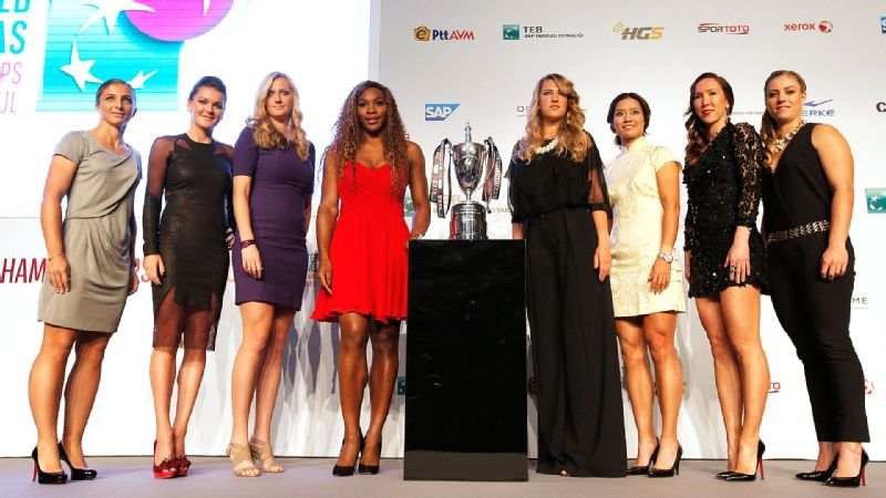 The top eight players in the world (minus an injured Maria Sharapova) pose with the trophy at the WTA Championships draw ceremony on Sunday. The WTA Championships begin Tuesday in Istanbul.