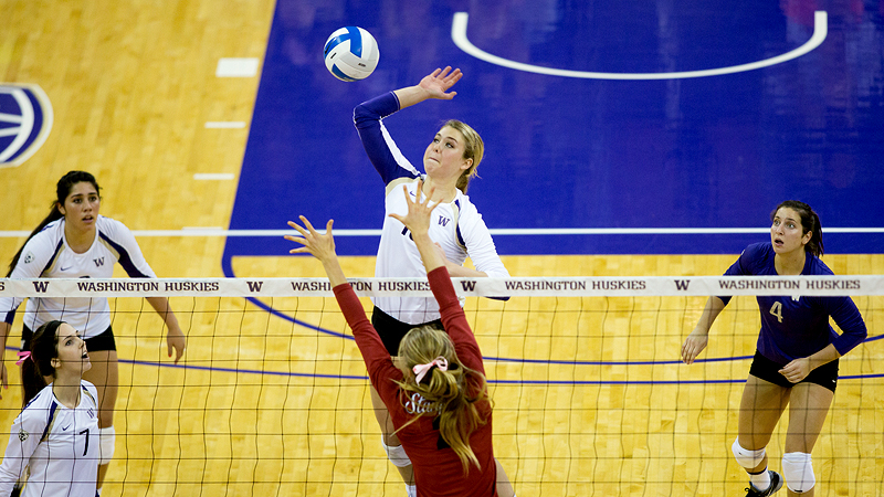 Middle blocker Lianna Sybeldon was named Pac-12 offensive player of the week after leading Washington to wins over USC and UCLA in Los Angeles.