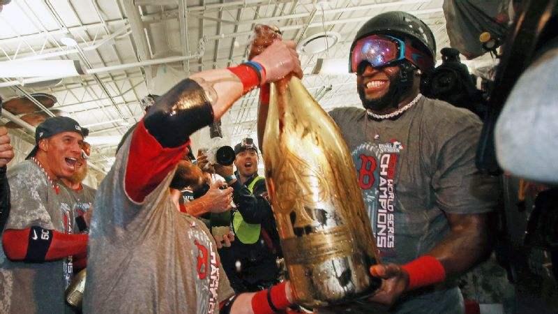 The Red Sox hadn't won the World Series at home since 1918, and David Ortiz's bottle had room for 95 years' worth of champagne.
