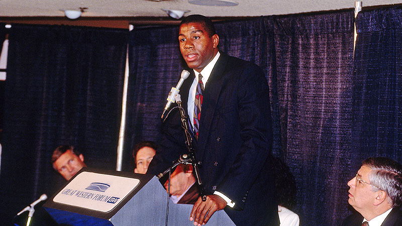 Magic Johnson was one of the league's most beloved players when he announced his retirement at age 32.