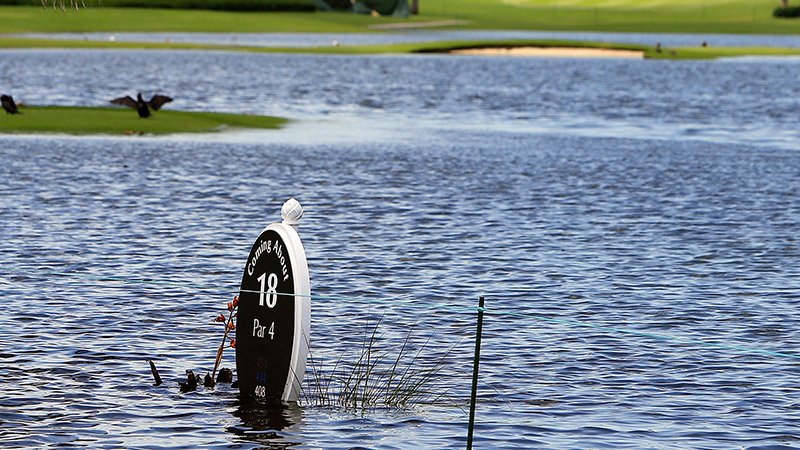 Forget balmy weather -- the LPGA got a torrential downpour for its inaugural trip to the Bahamas in May. After 12 inches of rain left several holes unplayable, officials shortened the course to 12 holes and the tournament to the minimum 36.