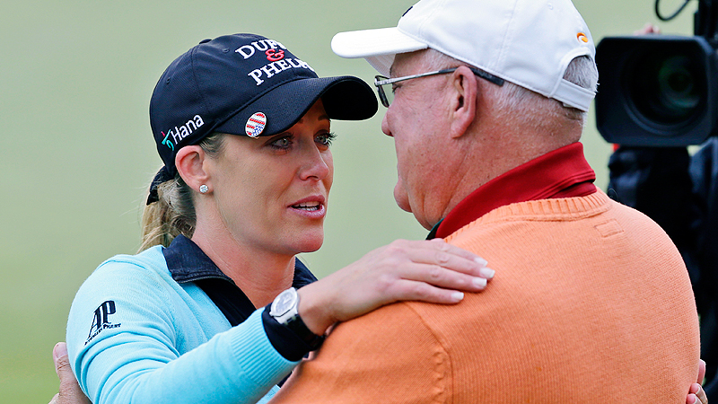 Cristie Kerrs dad had seen her play a lot through the years but had never seen her win a tournament in person. That changed in May at Kingsmill when Kerr beat Suzann Pettersen on the second playoff hole for her 16th LPGA title.