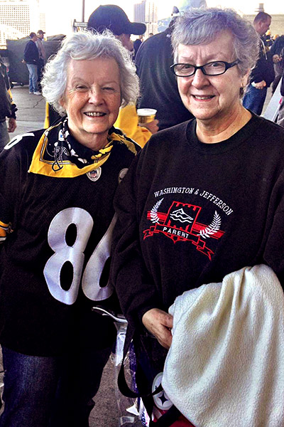 Kathleen Herbst, right, and Kathy McChesney have been Steek=lers season ticket holders for years. Section 537, Row Y, Seats 4 and 5. We were both born and raised here. The Steelers are in your blood, Kathy says.