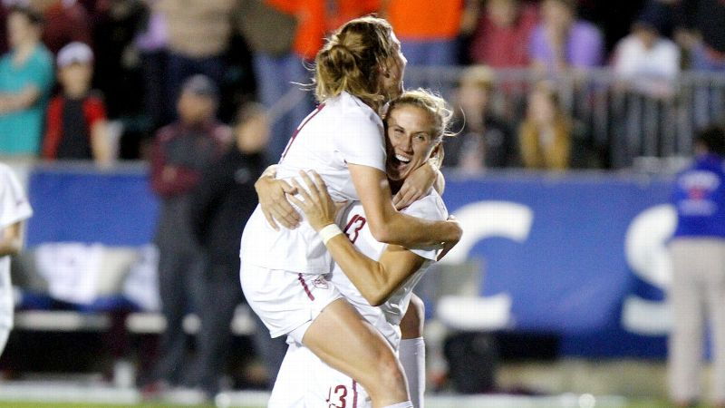 Florida State's Kristin Grubka, right, and Kassey Kallman celebrated a 1-0 win over Virginia Tech in the ACC tournament final. The two teams will meet again Friday in search of a bigger prize.