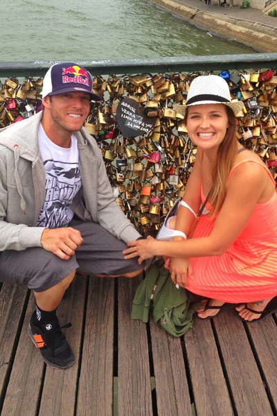 While visiting Paris for Caselli's 30th birthday, Caselli and fiance Sarah White spent an afternoon at the famed Love Lock Bridge, wrote promises to one another on locks, hung them on the wall and threw the keys into the Seine.