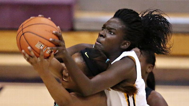 Lena Niang and Riverdale Baptist (Md.), the No. 7 team in the espnW 25 Power Rankings, suffered an 89-62 loss to St. Mary's (Stockton) in the first round. (Photo: Chris Coduto/Icon SMI)